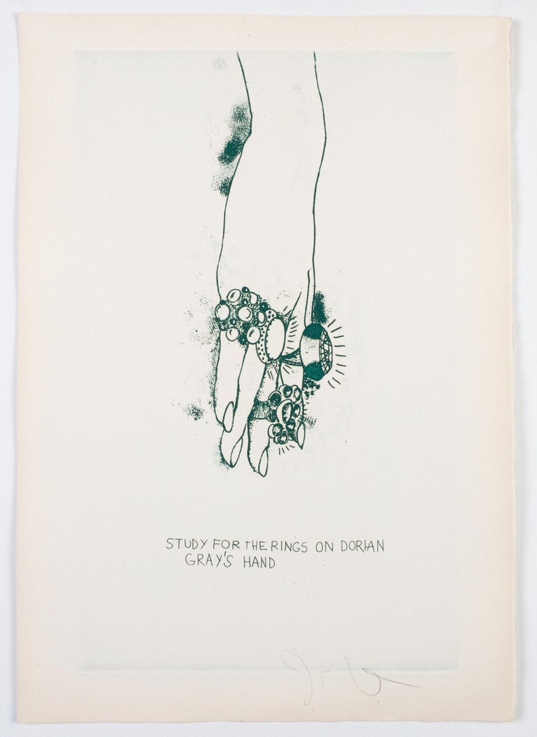 """Jim Dine Figurative Print - Study for the Rings on Dorian Gray's Hand from """"The Picture of Dorian Gray"""""""