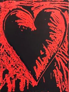 "The Black and Red Heart, 2013; Woodcut with hand drawing. 63 3/4"" x 47 1/2"""