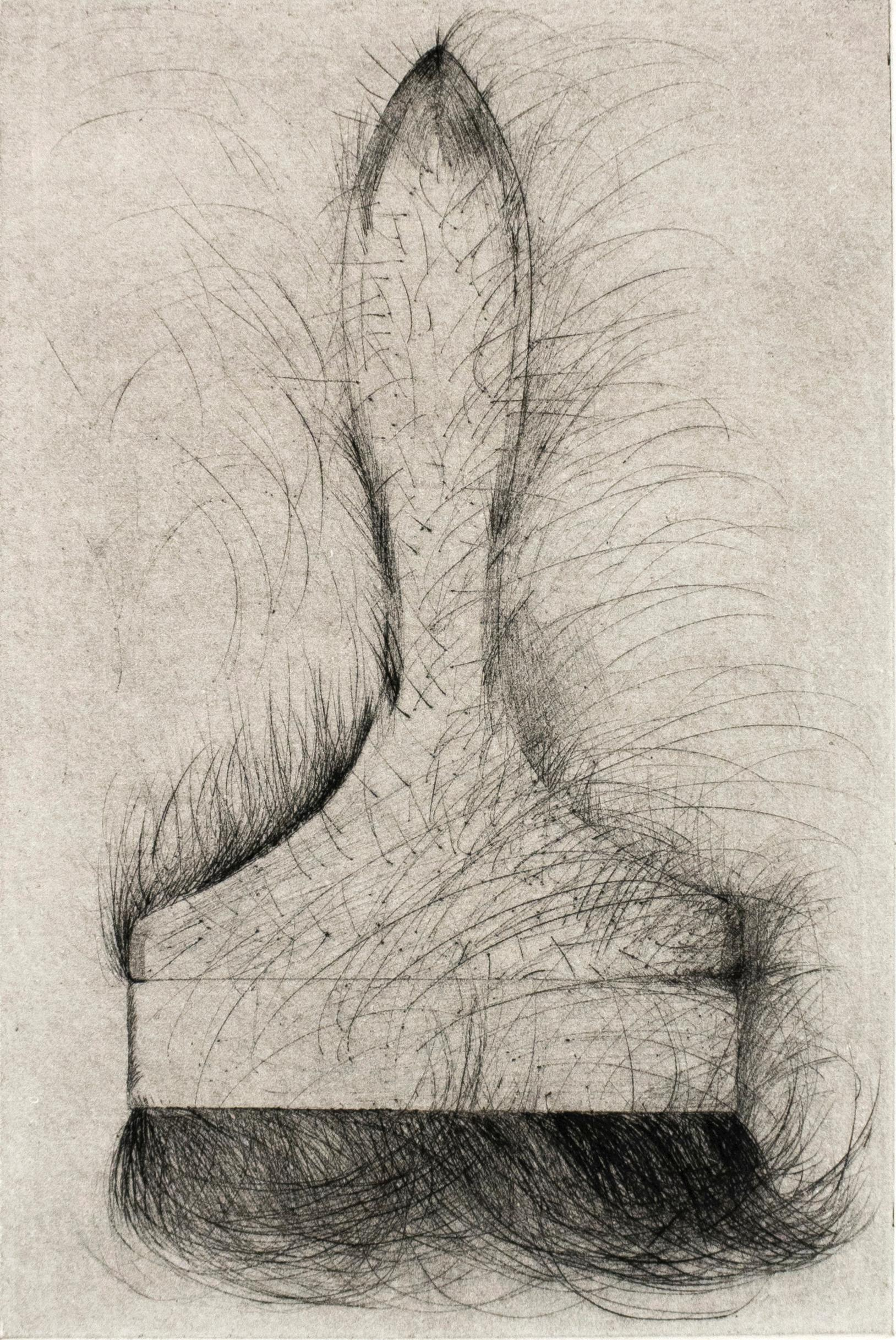 Tool Drypoint: Paintbrush by Jim Dine, black and white tool still life sketch