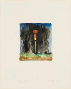 Untitled [Awl] -- Print, Lithograph, Hand-coloured, Tools by Jim Dine