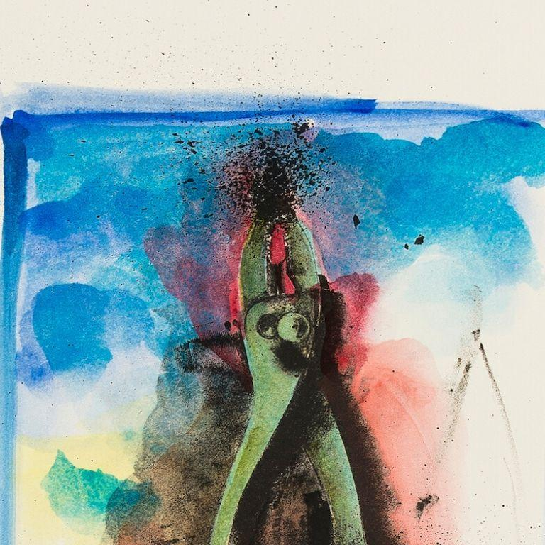 Untitled [Pliers] -- Print, Lithograph, Hand-coloured, Tools by Jim Dine For Sale 1