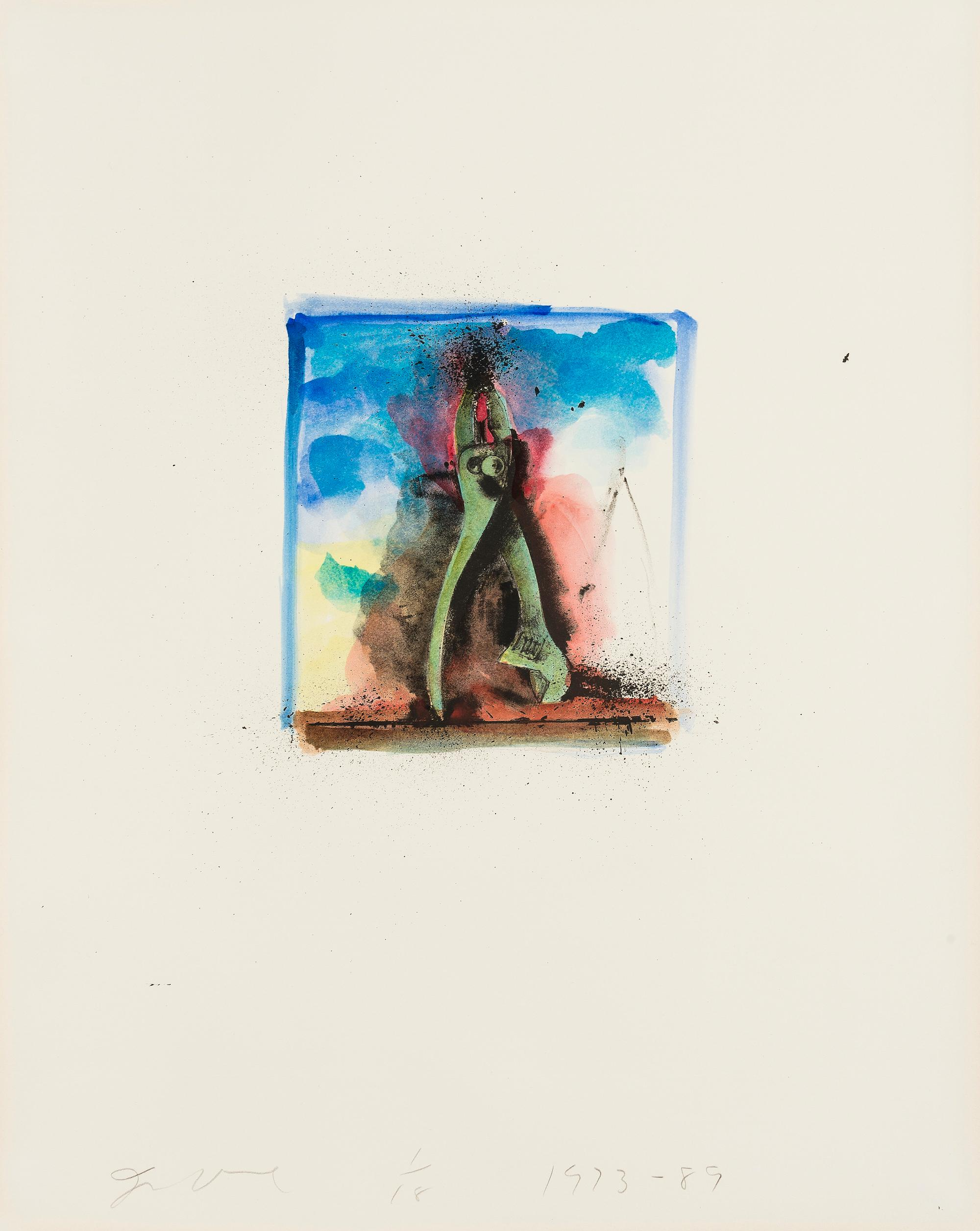 Untitled [Pliers] -- Print, Lithograph, Hand-coloured, Tools by Jim Dine