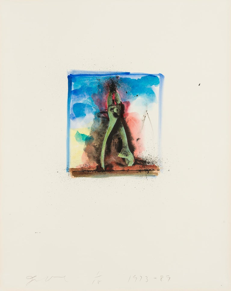 JIM DINE Untitled [Pliers], 1973-89  Lithograph with extensive hand-colouring in acrylic, on German Etching Deluxe wove paper Signed, dated and numbered from the edition of 18 in pencil From Ten Hand-Colored Winter Tools II Printed by Petersburg