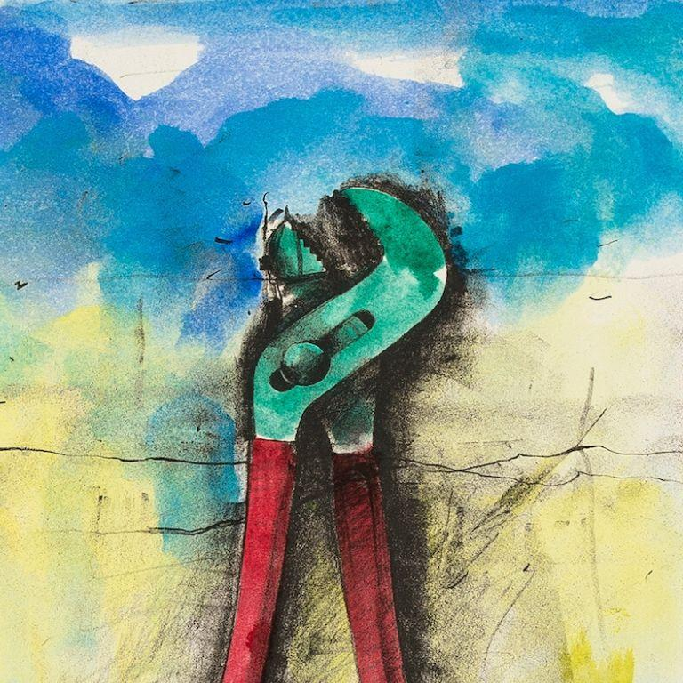 Untitled [Wrench] -- Print, Lithograph, Hand-coloured, Tools by Jim Dine For Sale 1