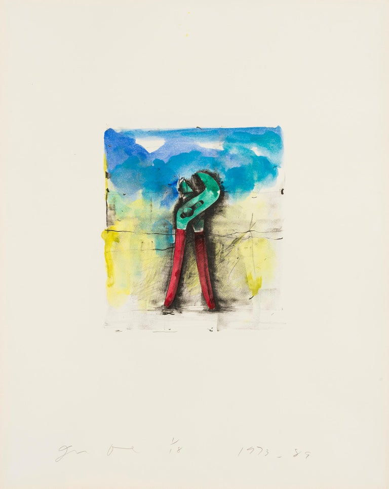JIM DINE Untitled [Wrench], 1973-89  Lithograph with extensive hand-colouring in acrylic, on German Etching Deluxe wove paper Signed, dated and numbered from the edition of 18 in pencil From Ten Hand-Colored Winter Tools II Printed by Petersburg