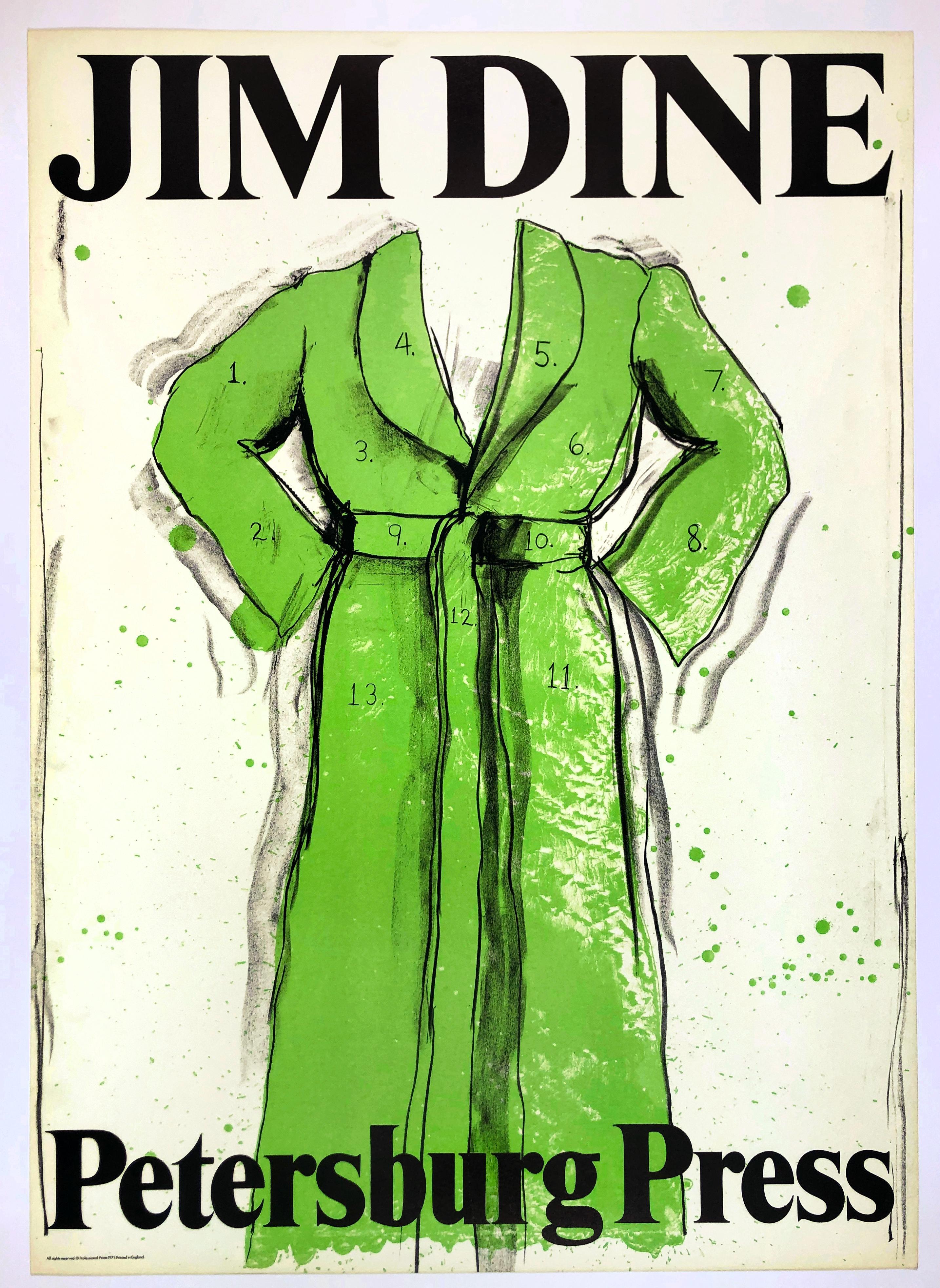 Vintage Jim Dine Green Bathrobe exhibition poster, 1970s retro pop art font