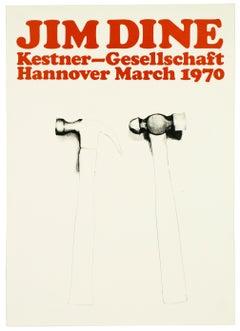 Vintage Jim Dine Poster Kestner Gesellschaft 1970 (Hammers 1970) retro red