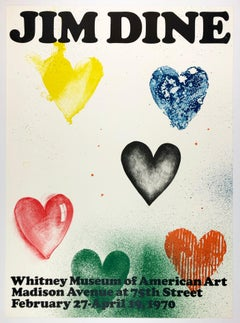 Vintage Jim Dine poster Whitney Museum 1970 (Six Hearts) rainbow retro font