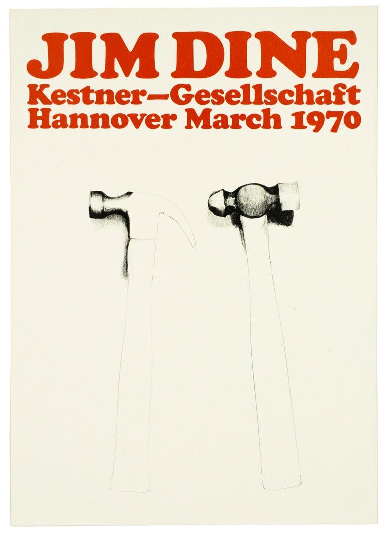 Vintage Jim Dine tool Poster Kestner Gesellschaft 1970 (Hammers 1970) retro red  - Pop Art Print by Jim Dine