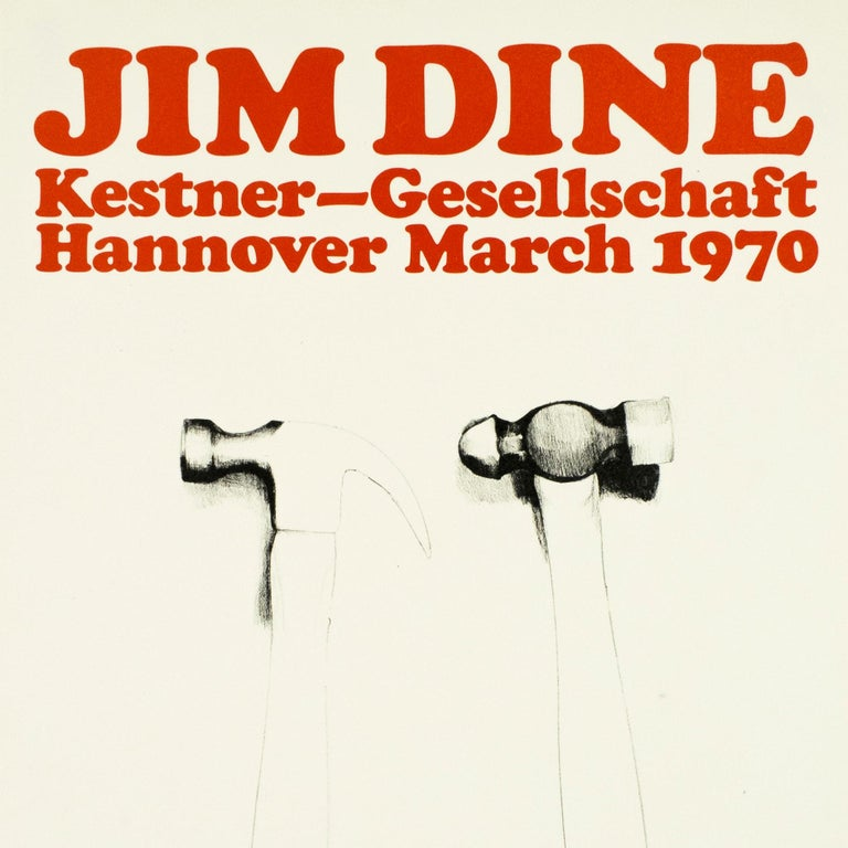 Vintage Jim Dine tool Poster Kestner Gesellschaft 1970 (Hammers 1970) retro red  - Print by Jim Dine