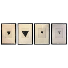 "Jim Dine Set of Four Pop Art Signed Etchings ""Four Kinds of Pubic Hair"", 1971"