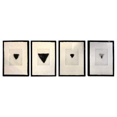 """Jim Dine Signed Set of Four Pop Art Etchings """"Four Kinds of Pubic Hair"""", 1971"""