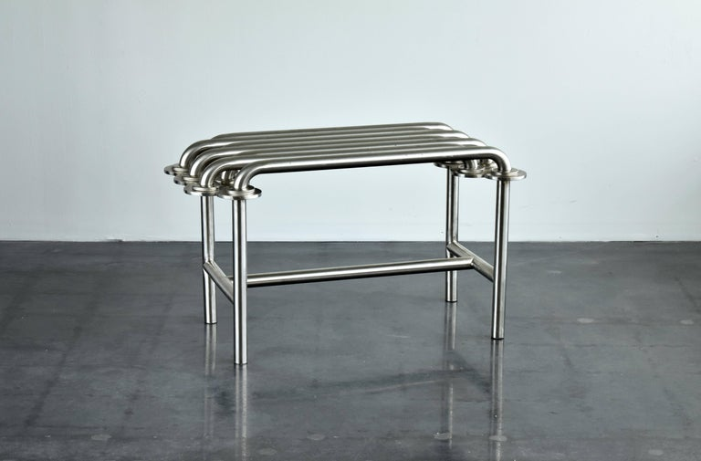 Post-Modern Jim Drain Unique Prototype Contemporary Bench, Stainless Steel, Aluminium, 2000s For Sale