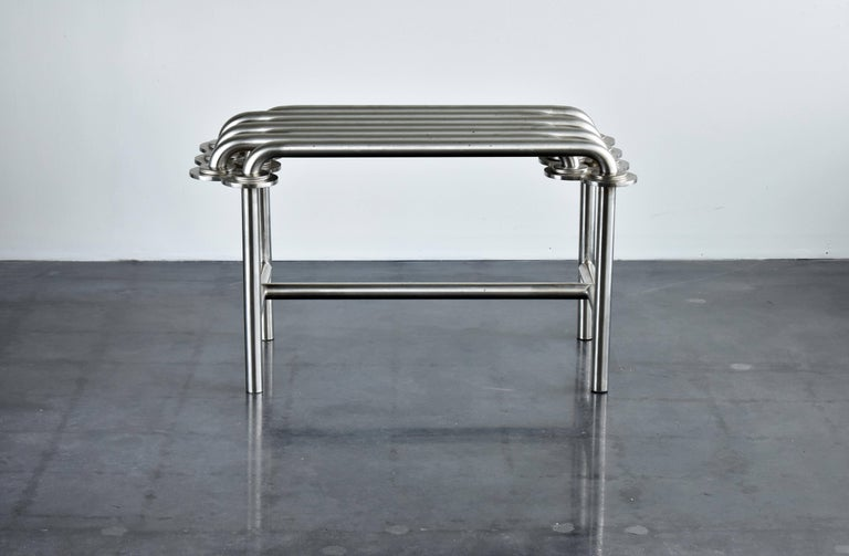 Jim Drain Unique Prototype Contemporary Bench, Stainless Steel, Aluminium, 2000s In Excellent Condition For Sale In West Palm Beach, FL