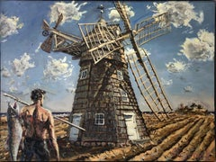 """JIM GINGERICH """"Windmill"""" oil painting landscape with shirtless figure in field"""