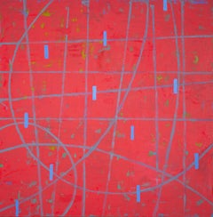 Particle Point Collision 1.10.20, red and blue geometric abstract oil painting