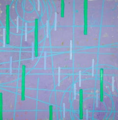 Particle Point Collision 3.15.20, green and blue geometric abstract oil painting