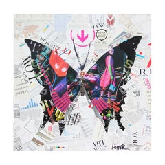 Contemporary Magenta Butterfly Mixed Media Pop Art Magazine Collage