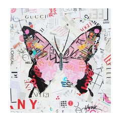 Contemporary Pink Butterfly Mixed Media Pop Art Magazine Collage