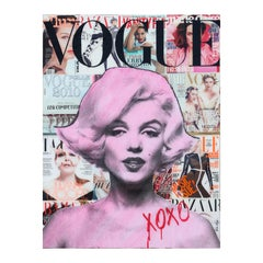 """""""Hugs and Kisses from Marilyn"""" Colorful Contemporary Mixed Media Pop Art Collage"""