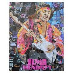 """Jimi Hendrix"" Contemporary Mixed Media Collage Portrait of Rock Guitarist"