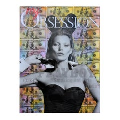 """""""My Obsession"""" Yellow Toned Kate Moss Playboy Mixed Media Pop Art Collage"""
