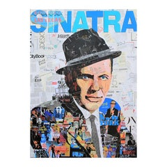 """Sinatra"" Blue, Black & White Contemporary Mixed Media Pop Art Collage Portrait"