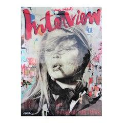 """Smoking Hot Girls"" Colorful Brigitte Bardot Mixed Media Pop Art Resin Collage"