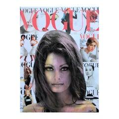 """Vogue History"" Sophia Loren Colorful Contemporary Mixed Media Pop Art Collage"