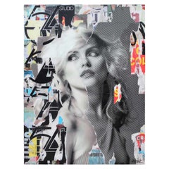 """""""Blondie"""" Contemporary Mixed Media Resin Collage Female Portrait"""