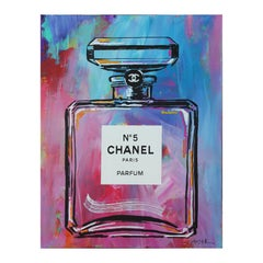 """""""Blue Chanel"""" No. 5 Paris Parfum Bottle Pink and Blue Toned Abstract Painting"""