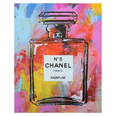 """Chanel No.5 #1"" Colorful Abstract Paris Parfum Bottle Painting"