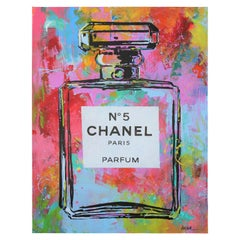 """Chanel No.5 #2"" Colorful Abstract Paris Parfum Bottle Painting"