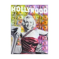 Colorful Hollywood Marilyn Monroe Mixed Media Contemporary Collage