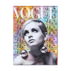 Colorful Vogue Twiggy Mixed Media Contemporary Collage