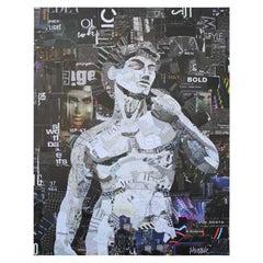 """David"" Contemporary Mixed Media Collage Portrait of Michelangelo Masterpiece"