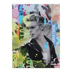 """Rebel Memories"" David Bowie Colorful Pop Art Mixed Media Collage Portrait"