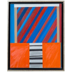 Jim Huntington Red and Blue Abstract Painting, 1964