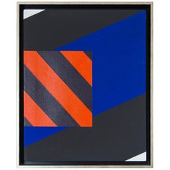 Jim Huntington Red, Blue and Black Abstract Painting, 1964