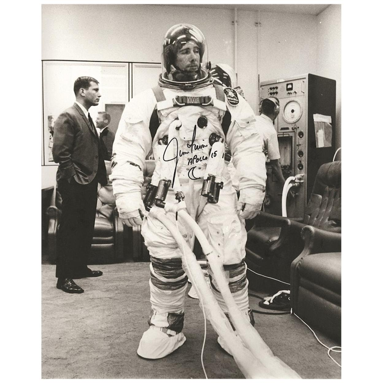 Jim Irwin Apollo 15 Signed 1971 Photograph Black and White