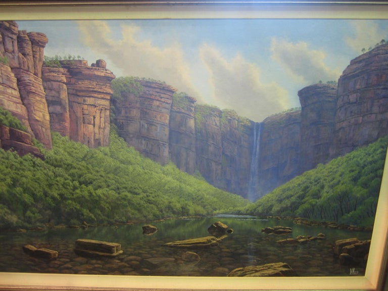 James Hardy, Jim Jim Falls, Kakadu, oil on board, signed bottom right, Measures: Image 150 x 90 cm, frame 174 x 117 cm This is an image of a very remote part of Australia.