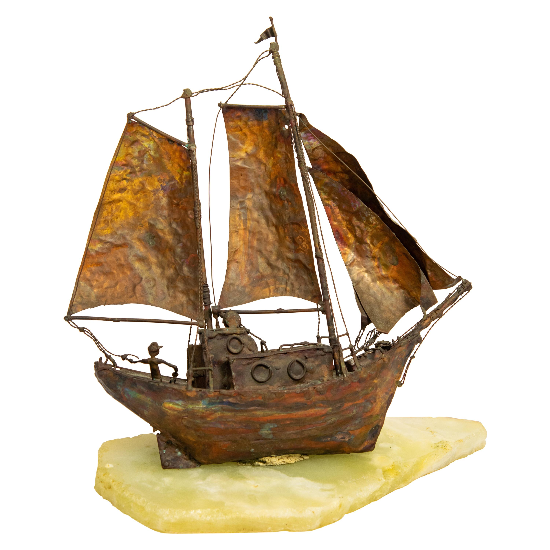 Jim Lewk Copper Sailboat Boat Ship Nautical Brutalist Sculpture on Marble Base