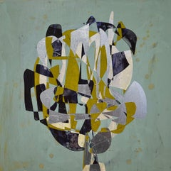 Black Dutch, yellow and black geometric abstract painting on wood panel