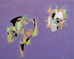 Daddio Jr., purple and green geometric abstract painting on wood panel