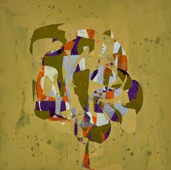 Dr. Love, yellow and purple geometric abstract painting on wood panel