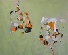 Dr. Yin and Mr. Yang, green and orange geometric abstract painting on wood panel