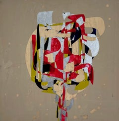 Edna Million, red and beige geometric abstract painting on wood panel