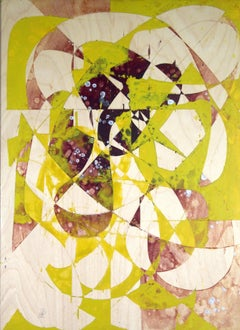 Fate is the Wheel, green and white geometric abstract painting on wood panel