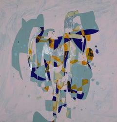 Uniqua, blue and orange geometric abstract painting on wood panel