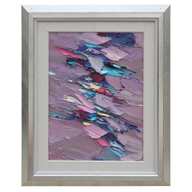 """Jim Rabby Abstract Painting - """"A Toodle Thru Santa Fe"""" Purple And Blue Textured Abstract"""